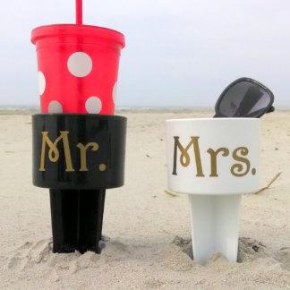 Mr. & Mrs. Destination Wedding Spiker Cup Holder