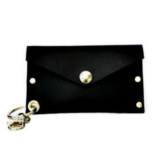 Black Leather Key Chain Cardholder w/Snap Closure