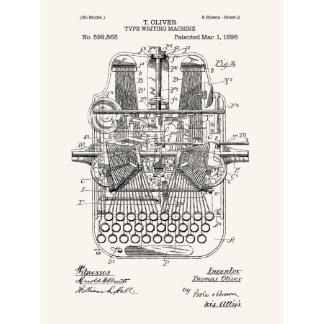 Vintage Typewriter Screen Print - T. Oliver