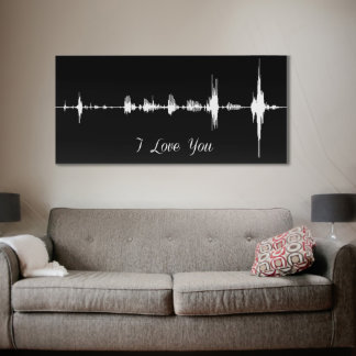 Black and White Sound Wave Wrapped Canvas w/Saying
