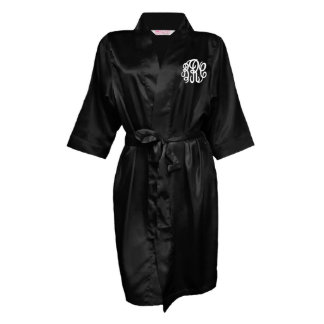 Black, Monogram Bridal Party Robe