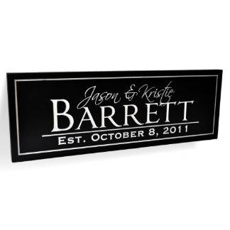 Black/White Engraved Family Name Sign