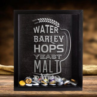 Small Beer Cap Shadow Box & Beer Quote Engraving