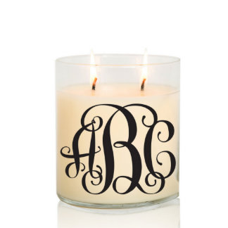 Scented Two Wick Monogram Candle w/Black Vine Font
