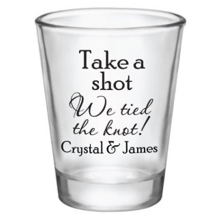 Wedding Shot Glass Set with Black Design