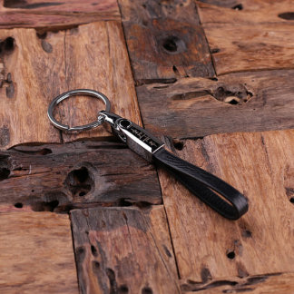Black Personalized Leather Monogrammed Key Chain