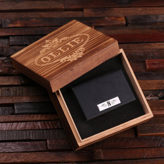 Black Leather Business Card Holder w/ Box
