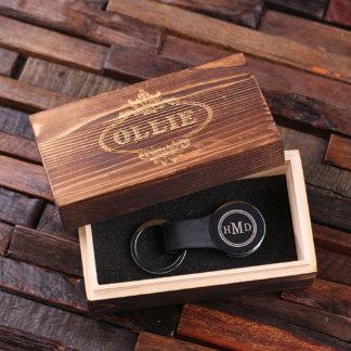 Black Customlized Leather Engraved Key Chain w/Box