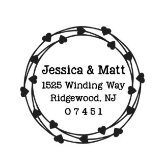 Circle of Hearts Self Inking Address Stamp