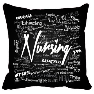 18x18 Nurses Hand Made Black Pillow