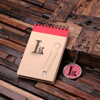 Personalized Spiral Notebook & Key Chain – Red