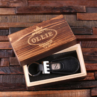 Black Customized Leather Engraved Key Chain w/Box