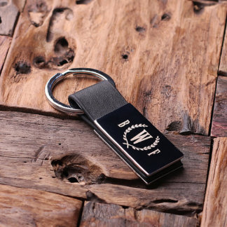 Black Personalized Leather Engraved Key Chain