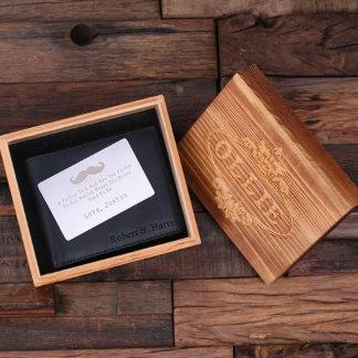 Black Personalized Wallet w/ Wallet Card & Box