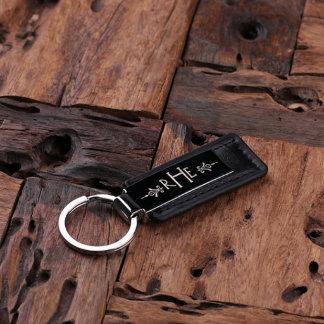 Llavero con monograma de cuero personalizado negro