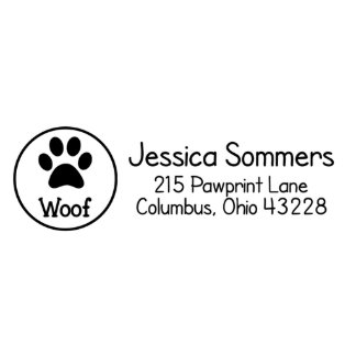 Woof Paw Print Address Stamp Return Address Stamp