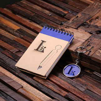 Personalized Spiral Notebook & Key Chain – Blue