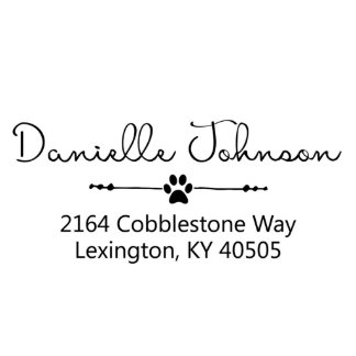 Elegant Paw Print Address Stamp Return Address Stamp