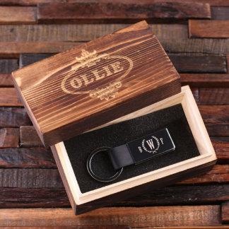 Black Personalized Leather Key Chain w/Wood Box