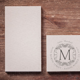 Round Flower Return Address Rubber Stamp