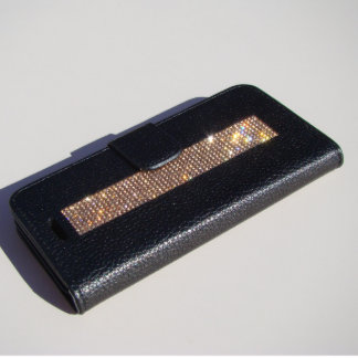 iPhone 6/6s Black Wallet w/ Rose Gold Crystals