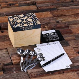 Custom Blue Recipe Box w/ Pen & Measuring Spoons