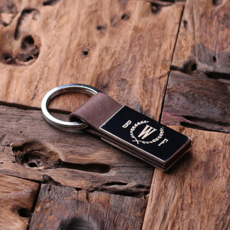 Brown Custom Leather Engraved Monogram Keychain