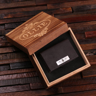 Brown Custom Leather Business Card Holder w/Box