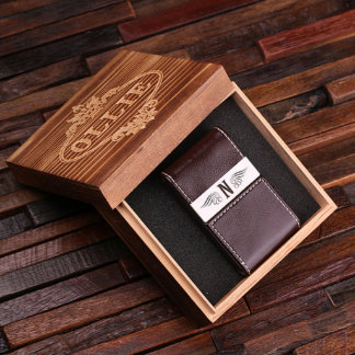 Brown Custom Leather Business Card Holder w/ Box