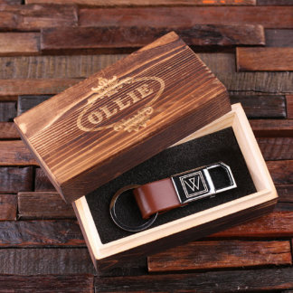 Personalized Brown Leather Keychain w/Wood Box