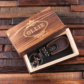 Personalized Leather Engraved Keychain w/Gift Box