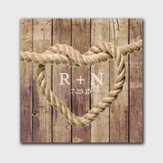 Personalized Knot Canvas Sign - Brown Wood Bkgnd