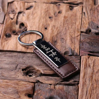 Personalized Leather Monogrammed Brown Keychain