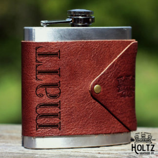 Brown Personalized Leather Flask Wrap