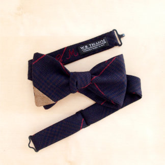 Bruce Navy, Brown, & Red Plaid Men's Bow Tie