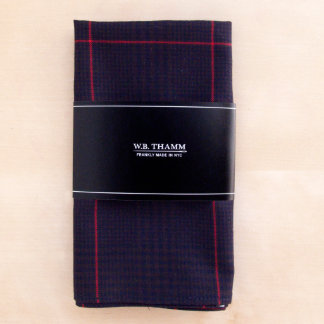 Bruce Navy/Brown/Red Plaid Pocket Square