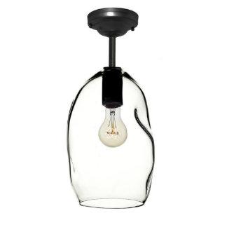 Handblown Bubble Glass Black Downrod Pendant Light