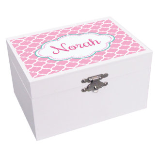 Moroccan Pink White Ballerina Musical Jewelry Box