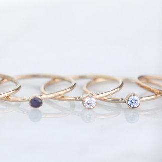 Gold-Filled Cubic Zirconia Gemstone Stacking Ring