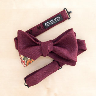 Cliff Men's Bow Tie Claret Red with Floral Accent