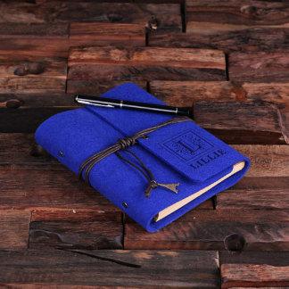 Blue Felt Engraved Notebook Diary, Sketchbook