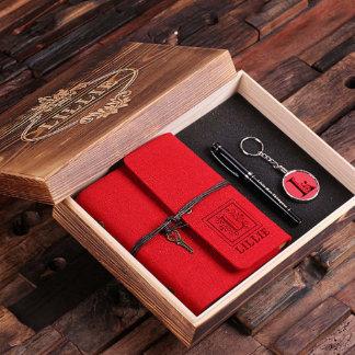 Red Custom Gift Set Box Journal, Key Chain, Pen