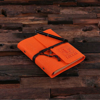 Personalized Felt Notebook/Journal - Orange