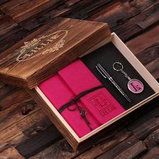 Fuchsia Custom Journal, Key Chain, Pen w/ Box Set