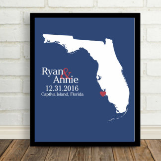 "White on Blue, Florida State Map 8.5""x11"" Print"