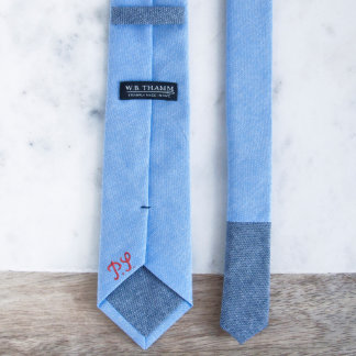 Dustin - Chambray Sky Blue Men's Skinny Necktie