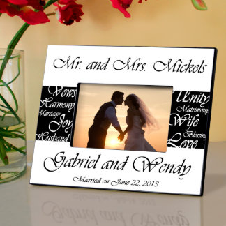 Black & White Mr. and Mrs. Wedding Picture Frame