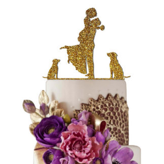 Bride and Groom With Dogs Wedding Cake Toppers
