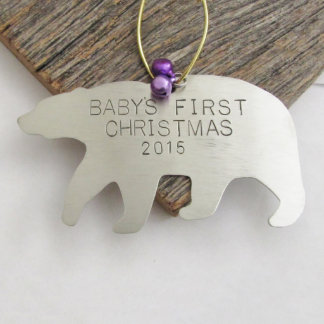 Baby's First Christmas Personalized Bear Ornament