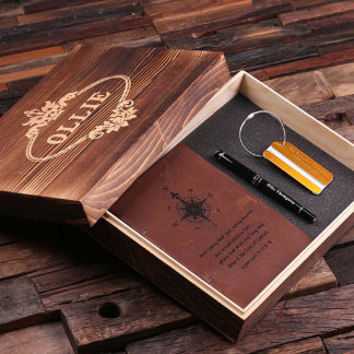 Custom Diary, Gold Travel Tag, Pen & Box Gift Set